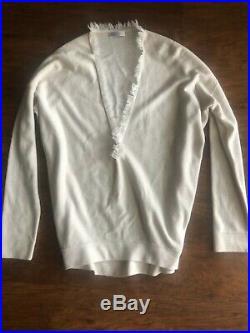 Brunello Cucinelli Cream Cashmere V-Neck Sweater With Fringe & Chain Detail, M