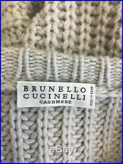 Brunello Cucinelli Gray 100% Cashmere Sweater M