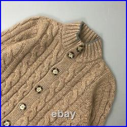 Brunello Cucinelli Men Camel CASHMERE Cable Knit Cardigan Sweater Jumper Size M