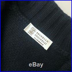 Brunello Cucinelli Men Navy Cashmere Knit Cardigan Sweater Pullover Size M IT48