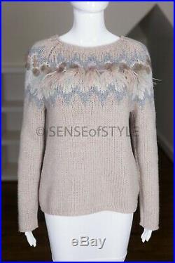 Brunello Cucinelli cashmere sweater with ostrich detail size M