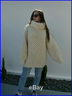Bulky Baby Alpaca Mohair sweater Pullover Fuzzy T-neck by LanaKnittings