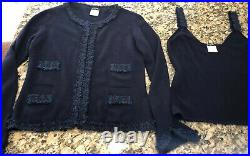 CHANEL 02A Vintage Cashmere Twin Set 40 4 44 8 10 12 Top Cardigan Sweater