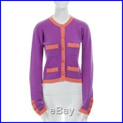 CHANEL 95P 100% cashmere purple pink 4-pocket CC button cardigan sweater FR38