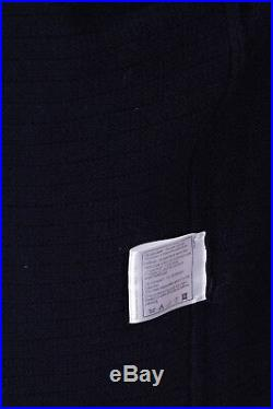 CHANEL NWT Navy & Slate Cashmere Crown Buttons Cardigan Sweater -US 8, RET $3.5K