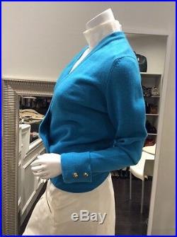 CHANEL Vintage Blue Cashmere Cardigan Sweater Top 38/40