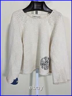 Caron Callahan Intarsia Knit Sweater Medium