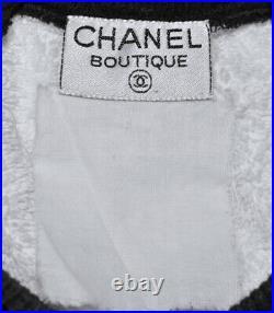 Chanel Iconic Vintage White Terry/black CC Logo Sweatshirt Sweater Top, S/m, Rare