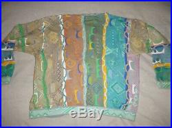 Coogi Mens M Medium Australia Multi Color Knit Cardigan Sweater Mercerized