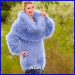 Cowlneck mohair sweater dress blue hand knitted warm thick tunic SuperTanya