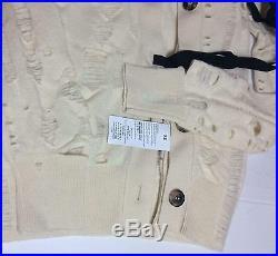 DISTRESSED MAISON MARTIN MARGIELA Cream Holes Cashmere Sweater Jacket Cardigan