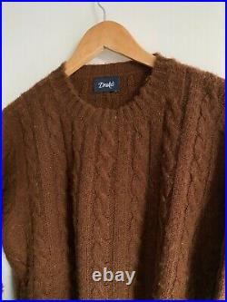 Drake's Brown Shetland Cable Knit Sweater / M / NWOT