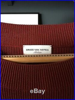 Dries Van Noten mens jumper sweater knit ribbed Spring Summer 2016 M Medium rust