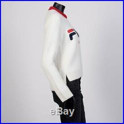 FENDI x FILA 1090$ Cropped Logo Embroidery Sweater In Off White