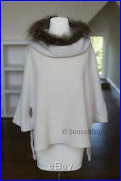 Fabiana Filippi Wool Cashmere Vest Top poncho fox Trim size M