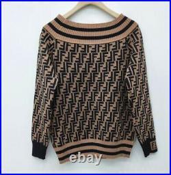 Fendi FF Logo Brown sweater women Size M. Sells Fast