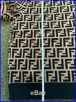 Fendi Motif FF Logo Knit Pullover Top Shirt Blouse Women Sweater Brown Tan
