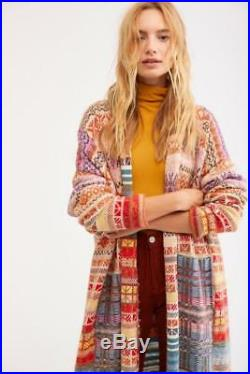Free People NWT Medium/ Large Met Your Match Statement Maxi Sweater Coat