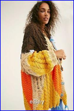 Free People NWT Size Med/ Large Perfectly Patched Cardigan Sweater Boho Jacket