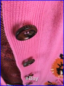 GUCCI Tiger Intarsia Pink Wool Cardigan Sweater Size Medium 100% Authentic