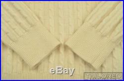 GUCCI Vintage VTG Beige 100% Wool Cable Knit V-Neck Sweater EU 52 / MEDIUM