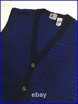 Gianni Versace Vintage'95 Knit Vest Gilet Men Sweater Geometry Wool Blue Black