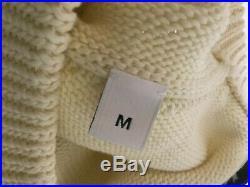 Givenchy Paris Logo Band Heavy Crew Neck Knit Cream Sweater size medium