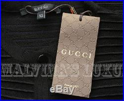 Gucci Sweater Black Ribbed Stretch Wool Cropped Cardigan Top M Medium