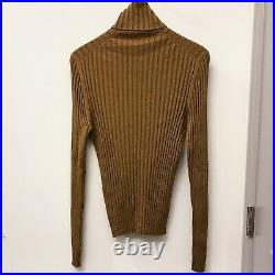 Gucci Tom Ford RTW Brown Silk Wool Cashmere Ribbed Turtleneck Sweater Jumper KKW