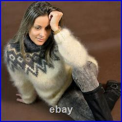 Hand Knit Mohair Sweater Icelandic Nordic Fuzzy WHITE Gray EXTRAVAGANTZA M L XL