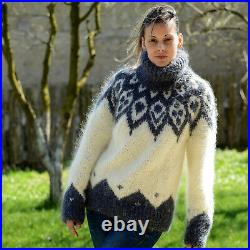Hand Knitted Mohair Sweater Icelandic Nordic Fuzzy WHITE Gray by EXTRAVAGANTZA