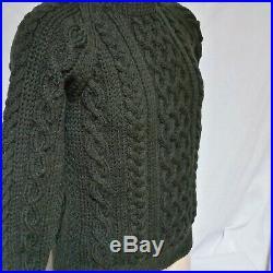 Inverallan Wool Cable Knit Sweater Scotland Jumper Fisherman Green Sport Medium