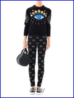 KENZO Black Lotus Eye Embroidered Sweater Size Large EUC Worn once