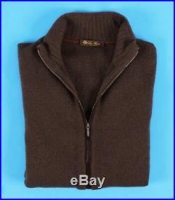 LORO PIANA 100% CASHMERE / SUEDE BOMBER Full Zip Sweater Brown 50 M Medium
