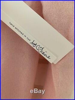Lingua Franca Cashmere Women On Top Blush + Light Blue Sweater Nwt Med