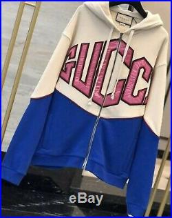 Long Sleeve Gucci Zip-Up Sweater Hoodie