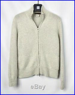 Loro Piana 100% Cashmere Gray Thick Knit Full Zip Cardigan Sweater 44 Medium M