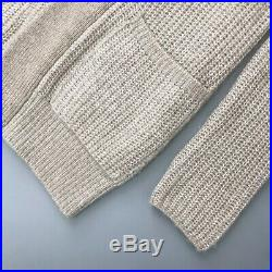 Loro Piana Women Cream CASHMERE Silk Knit Oversized Long Cardigan Sweater Size S