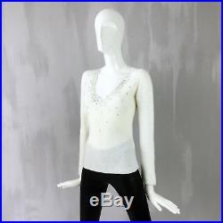 Loro Piana Women White CASHMERE Knit Diamanté Sequin Jumper Sweater Pullover 38