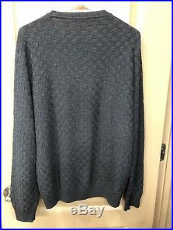 Louis Vuitton Charcoal Gray Damier Knit Sweater Size Medium