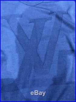 Louis Vuitton Mens Cotton Crew Neck Sweater LV Logo Blue Pullover Sz M
