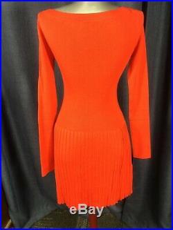 Louis Vuitton RARE lipstick red wool silk mix sweater dress w pleated skirt M