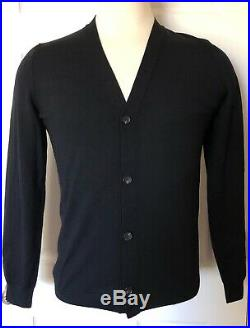 Louis Vuitton Uniformes Men's Medium Wool Cotton Knit Cardigan Sweater Black NEW