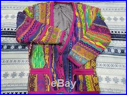 M Womens Coogi Sweater Button Cardigan 90s Cosby Mercerized Cotton Hip Hop Wild