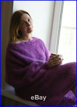 M-XXL Premium Longhair Mohair Sweater Dress hand knit Purple Jane Rodas