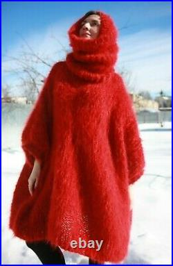 M-XXXL Italian Premium Mohair Sweater Removable neck hand knit Hot Red