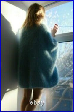 M-XXXL Italian Premium Mohair Sweater Removable neck hand knit Light Blue