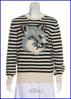 MAISON KITSUNE Rare Stripe Fox Intarsia Sweater Women's Large Medium