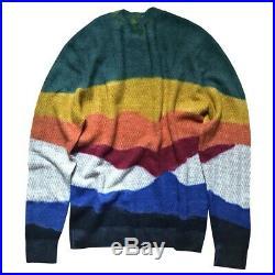MISSONI Mens Tie-Dye Color-Block Alpaca Wool Sweater ZigZag IT48/M FW19 $1165