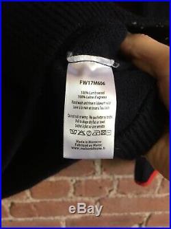 Maison Kitsune Men's Sweater 100% Lambswool, Navy Blue Medium